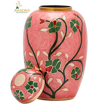 Ansons Urns Cremation Urn – Flower Funeral Urn for Human Ashes – Burial urn with Lacquer Finish – 100 Brass – Flora Pink
