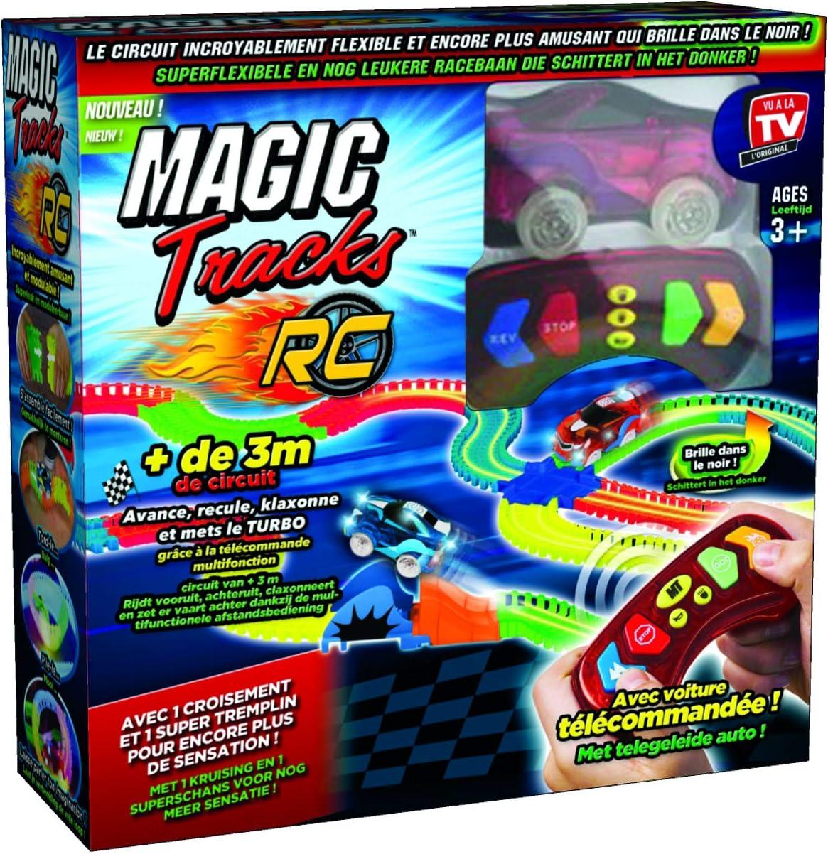 MAGIC TRACKS RC - Circuito Luminoso, 3,35 Metros modulable y Brillante en la Oscuridad, Incluye un Coche teledirigido