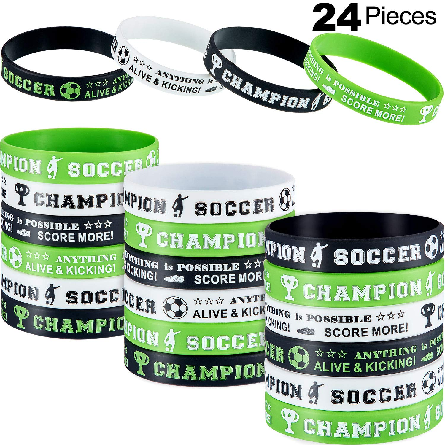Hicarer Soccer Silicone Wristbands Soccer Theme Rubber Wristbands Soccer Bracelet Wristbands for Soccer Themed Birthday School Gifts Party Favors (24 Pieces) by Hicarer