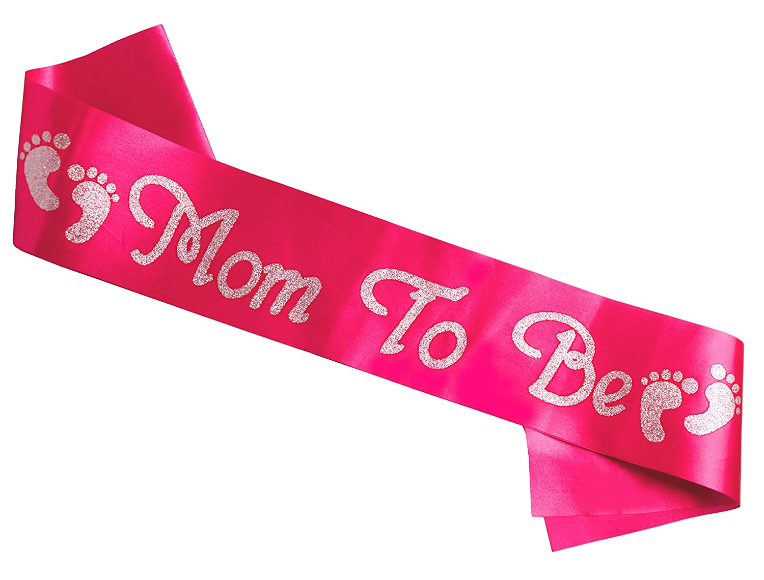 Amazon.com : Mom To Be Sash   Soft, Pink Satin With Silver Glitter   Baby  Shower Sash For Mom   Baby Girl Or Twins   Neutral   Best Baby Shower Gift  Or Baby ...