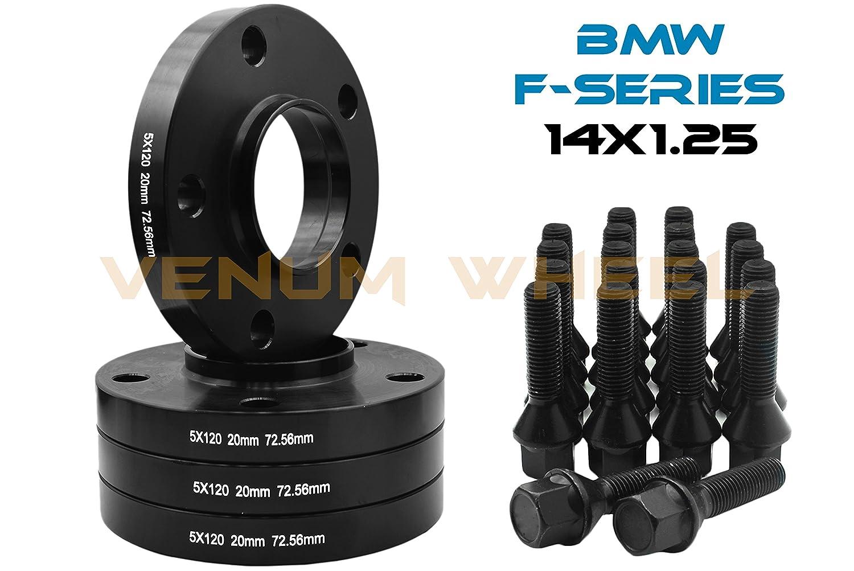 20 MM BMW F-Series 5x120 MM Black Hub Centric Wheel Spacers 72.56 Hub Bore W// 14x1.25 Black Lug Bolts Fits F30 F31 320 328 335 F80 M3 F32 F82 M4 435 F22 F23 228 235 F10 528 535 M5 F11