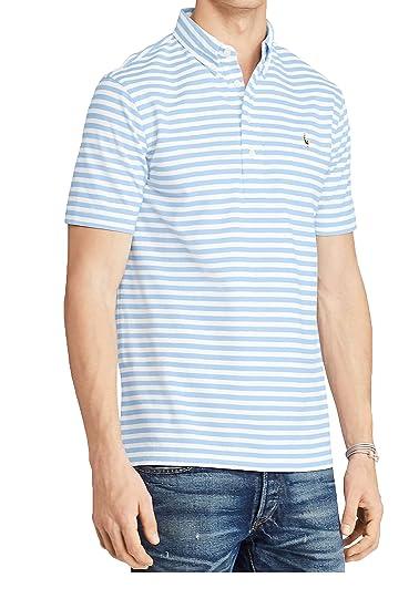 Polo Ralph Lauren Men s Striped Knit Oxford Short Sleeve Polo Shirt  (Blue White, 39f457319ccf