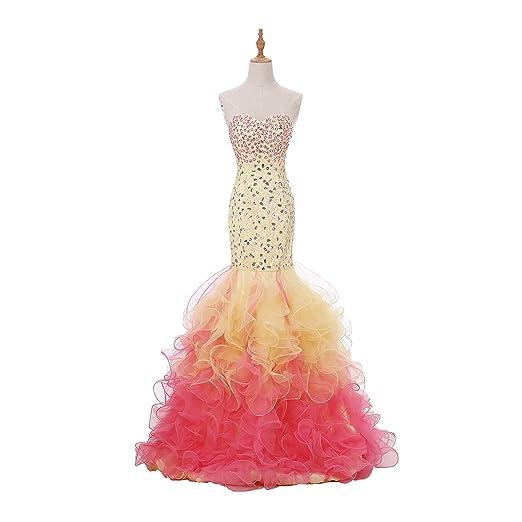 7db9c79d Sparkly Rhinestone Mermaid women Dresses Pink Rainbow Ruched Crystal  Shining prom Dress (2)