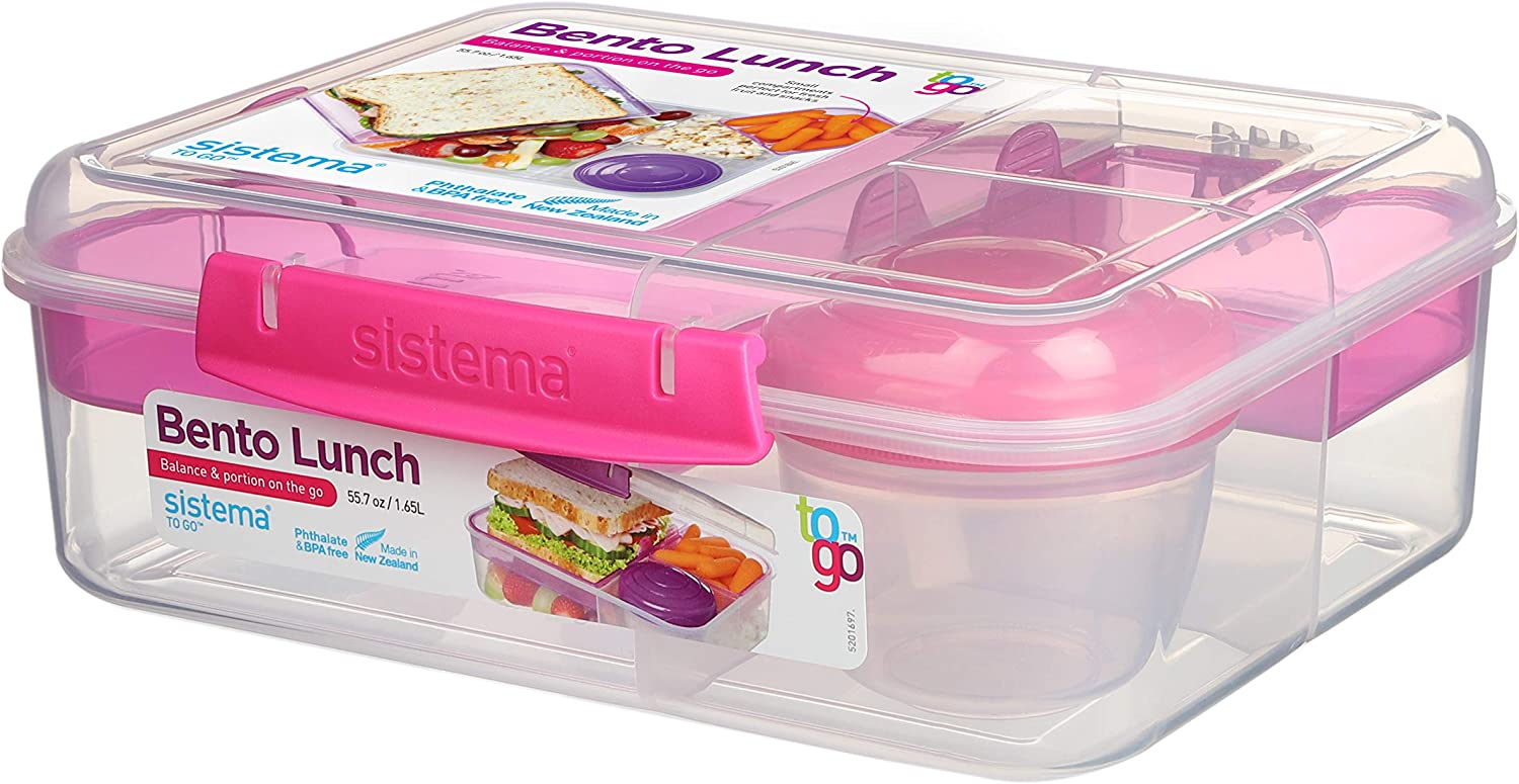 1.65 L Assorted Colours Sistema Bento Lunch Box to Go with Fruit//Yogurt Pot