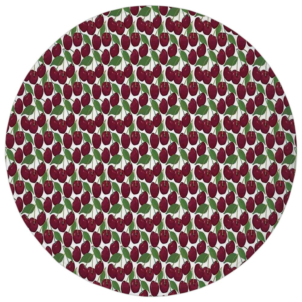 Round Rug Mat Carpet,Kitchen Decor,Cherry Pattern Ripe Fresh Fruit Image Floral Country Style Image Natural Gourmet,Maroon Green White,Flannel Microfiber Non-slip Soft Absorbent,for Kitchen Floor Bath