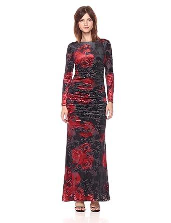 ee69ed0efbc4 Adrianna Papell Women's Long Sleeve Velvet Burnout Floral Gown,  Cardinal/Black Multi, ...