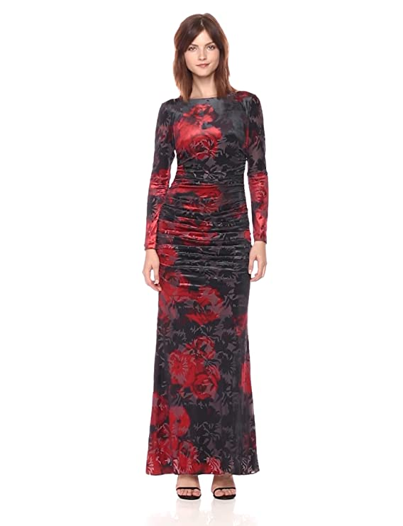 8bfd76759254 Adrianna Papell Women's Long Sleeve Velvet Burnout Floral Gown at Amazon  Women's Clothing store: