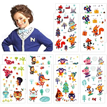 Amazon.com: Temporary Tattoos For Kids(174Pcs), Konsait Animal Zoo ...