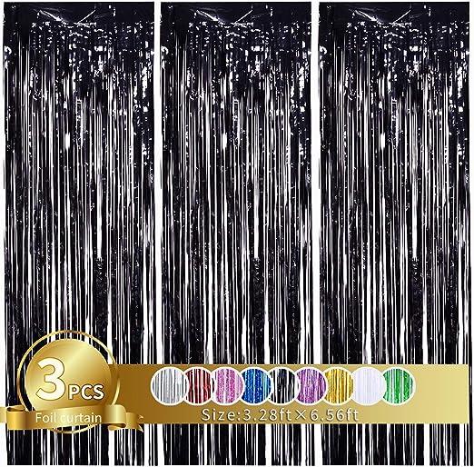 3 Stück Schwarz Metallic Lametta Vorhänge Tinsel Folie Vorhang Folienfransen Vorhang Für Hochzeit Verlobung Brautdusche Geburtstag Bachelorette Party Bühnendekor