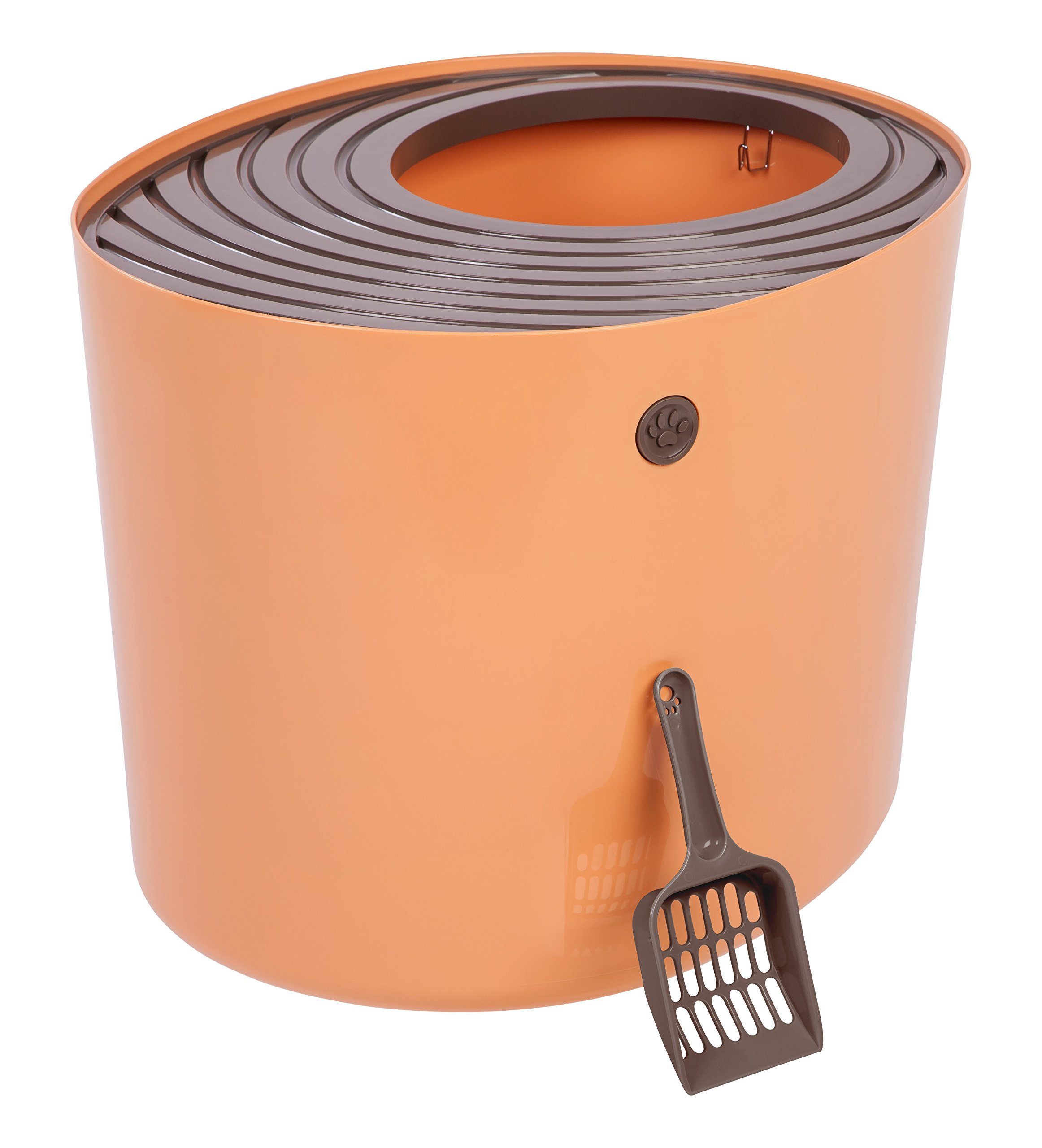 IRIS Top Entry Cat Litter Box with Cat Litter Scoop, Orange & Brown by IRIS USA, Inc.