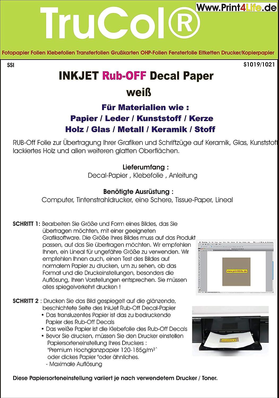 10 Blatt Inkjet Decal Papier Transfer Folie Din A4 Amazonde