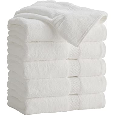 HomeLabels 100% Cotton White Bath Towels Set (6 Pack, 24 x 48 Inch) Lightweight High Absorbency, Multipurpose, Quick Drying, Pool Gym Towels Set