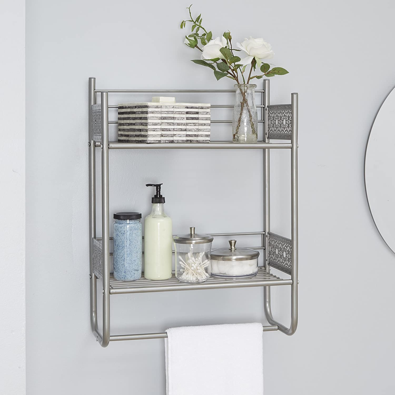 Filigree Bathroom Collection Wall Shelf Nickel Delicate