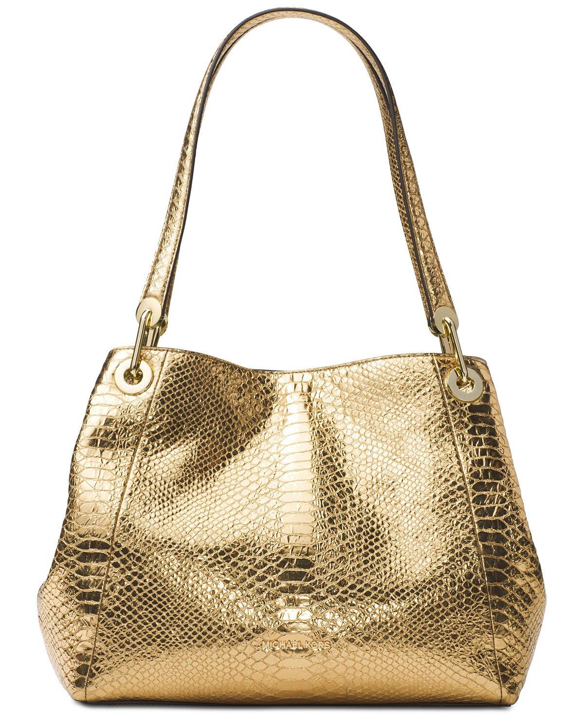 Michael Kors Women's Raven Large Leather Shoulder Bag (Gold)