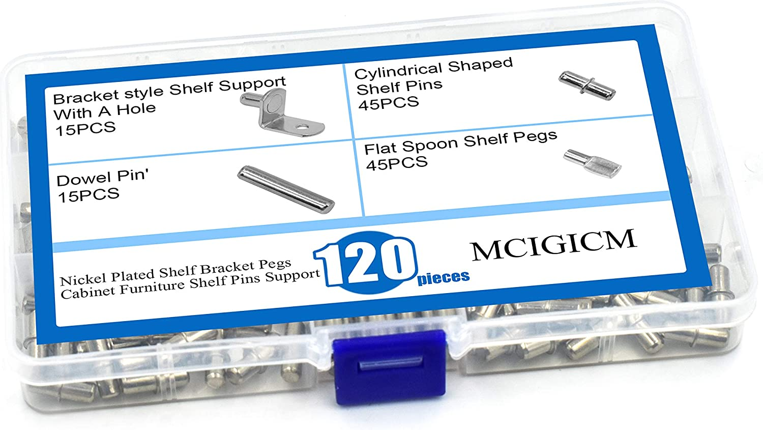 Bracket Style Flat Spoon Dowel Cylindrical Shaped Shelf Pins Pegs Supports for for Shelf Holes on Cabinets MCIGICM 120PCS Shelf Pin Pegs Support Kits