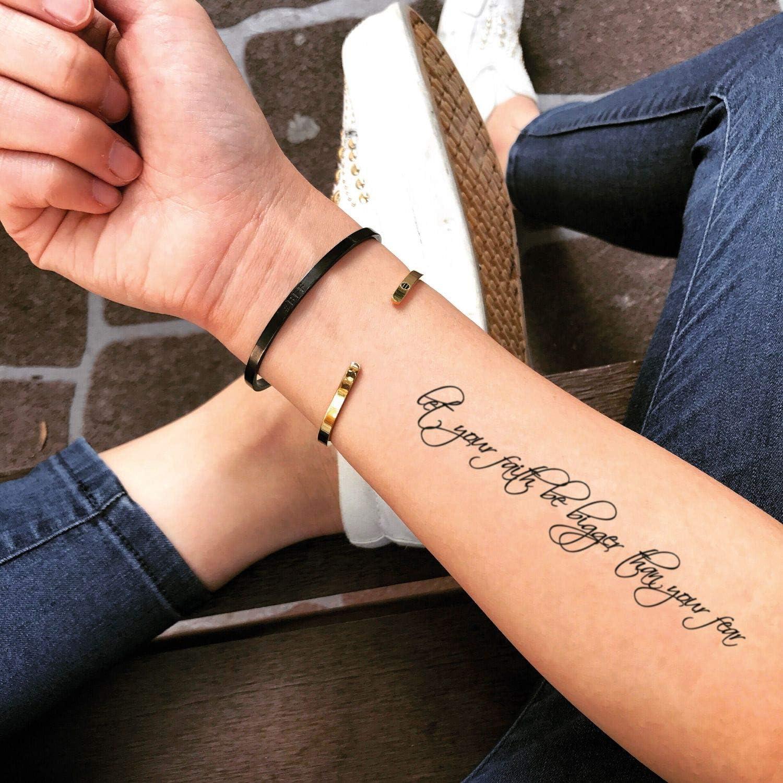 Tatuaje Temporal de Deja que tu fe sea más grande que tu miedo (2 ...