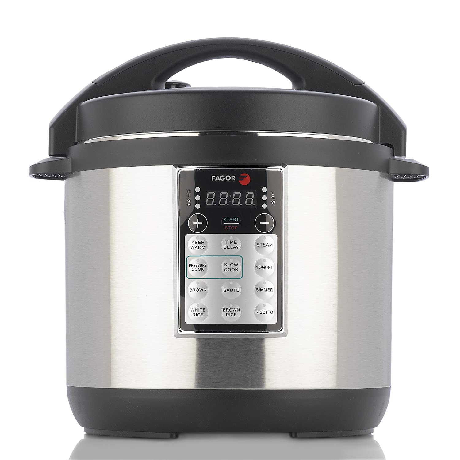 Amazon.com: Fagor LUX Multi-Cooker, 6 quart, Electric Pressure Cooker, Slow  Cooker, Rice Cooker, Yogurt Maker and more, Silver - 670041880: Kitchen &  Dining