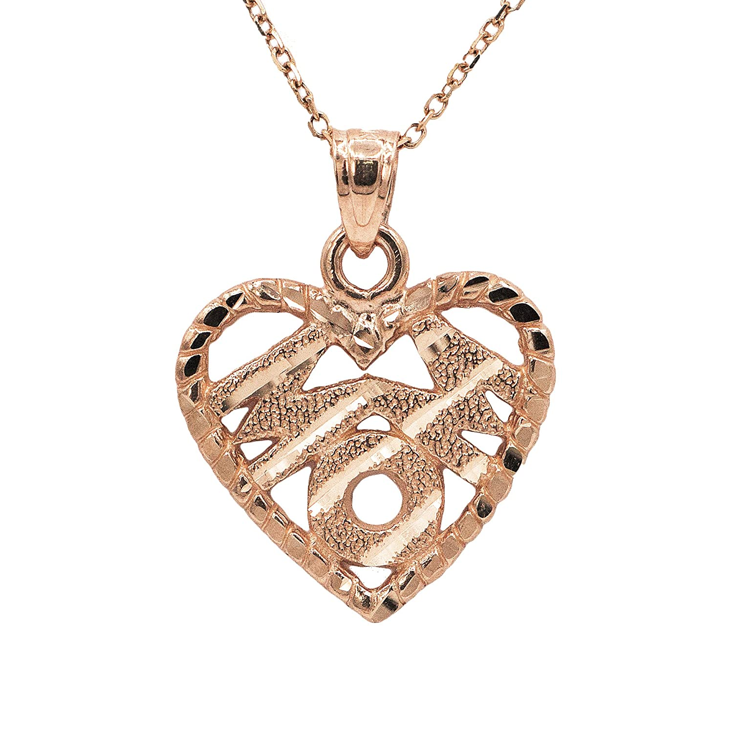 Ice on Fire Jewelry 10k Rose Gold Heart Mom Necklace