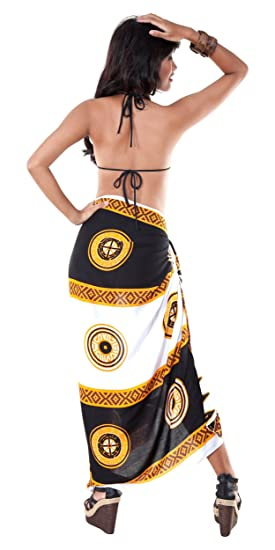 caf72e9e4ce56 1 World Sarongs Womens Abstract Tiki Cover-Up Sarong in Black White Brown