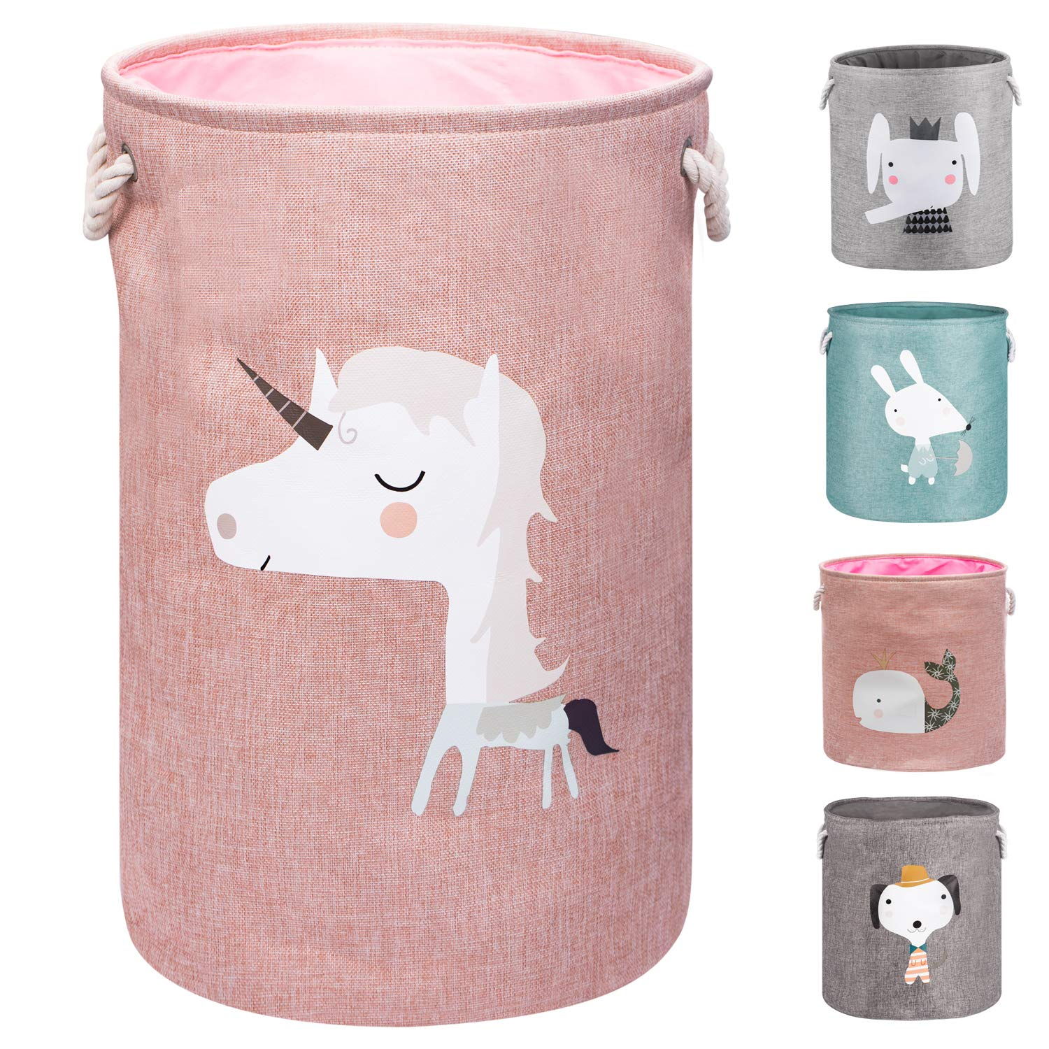 """AXHOP 22"""" Upgrade Large Collapsible Laundry Basket with Lid, Toy Storage Baskets Bin for Kids, Dog, Toys, Blanket, Clothes, Cute Animal Laundry Hamper"""