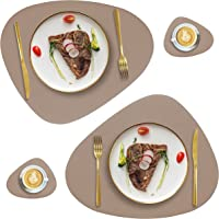 Faux Leather Placemats and Coasters Set, Round Leather for Dinner Table Mats Heat Resistant Non-Slip Washable Insulation…