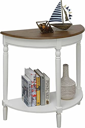 Convenience Concepts French Country Entryway Table, Driftwood Top White Frame