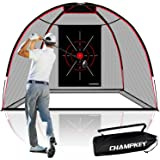 CHAMPKEY Upgraded TEPRO 10' x 7' Golf Hitting Net   5 Ply-Knotless Netting with Impact Target Golf Practice Net Ideal for Ind