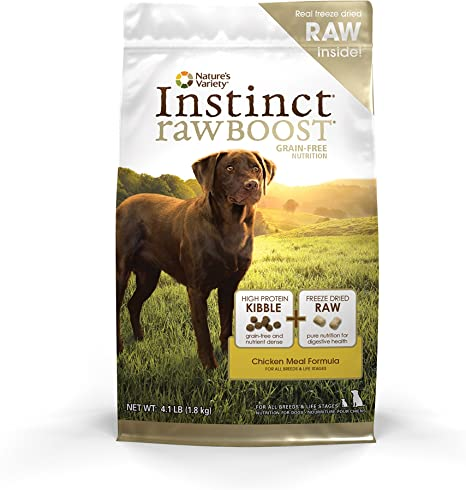 Amazon Com Instinct Raw Boost Grain Free Chicken Meal Formula Natural Dry Dog Food By Nature S Variety 4 1 Lb Bag Pet Supplies