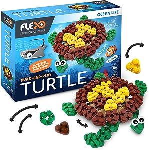 Flexo - Toy Building Brick Set with Flexible 3D Blocks - Fun Ocean Theme Educational Stem Learning for Girls & Boys - Kids Age 7+ - 229 Piece Build Kit - Award Winning Design - Turtle Design