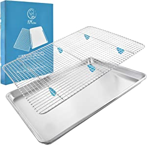 "Baking Sheet with Cooling Rack Set - (18"" x 13"" Pan / 16.8"" x 11.8"" Rack) Heavy-Duty Aluminum Cookie Half Sheets Oven Tray with Stainless Steel Roasting Wire - Includes Silicone Feet for Cooking Racks"