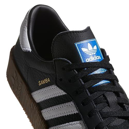 new style f2a7c 8be31 adidas Originals Samba Blanc et Noir Pantoufles pour Femmes avec Plate-Forme.  Sports Sneaker