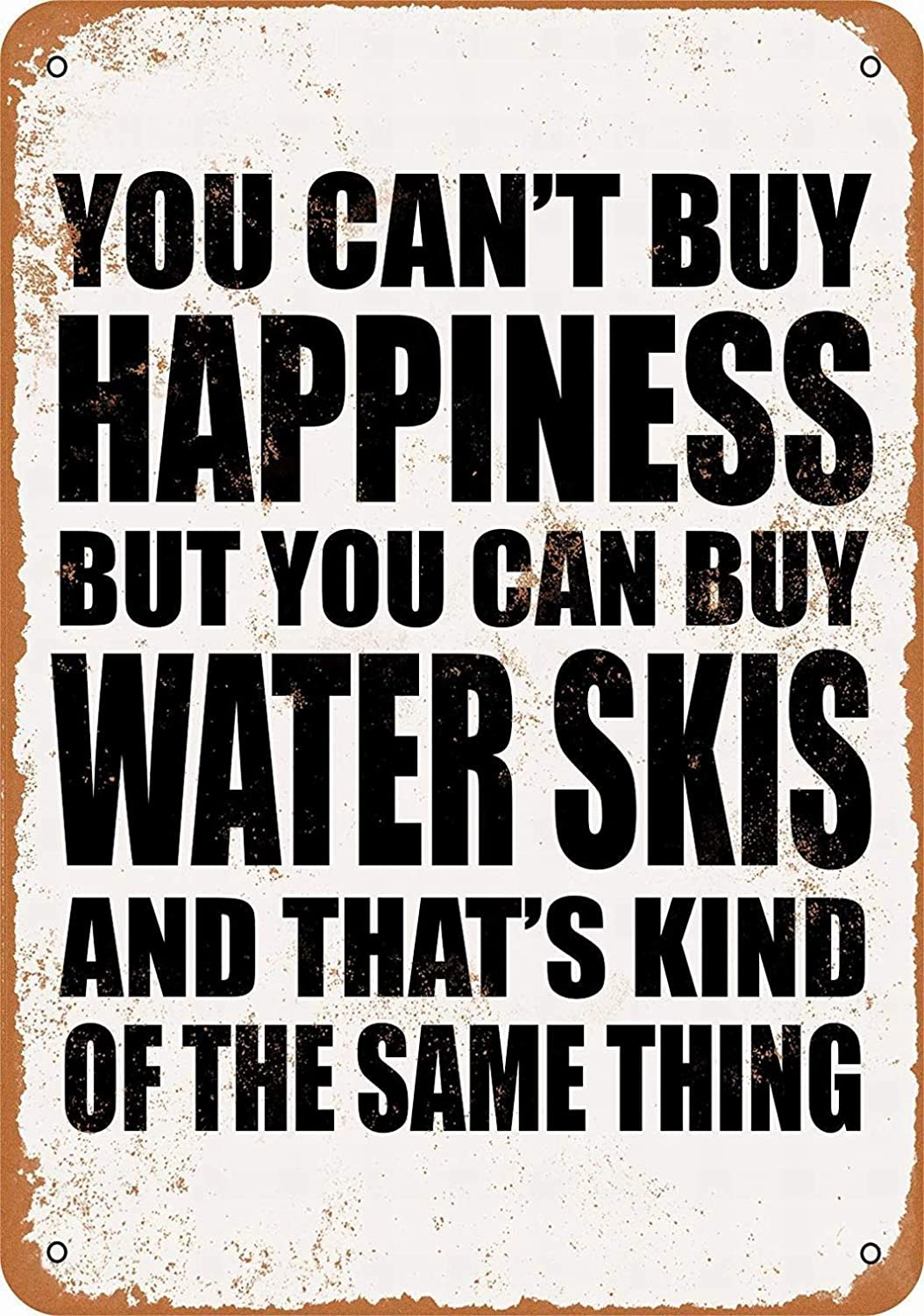 """Lplpol Metal Sign - You Can't Buy Happiness But You Can Buy Water Skis - Vintage Wall Decor Art 12"""" x 18"""""""