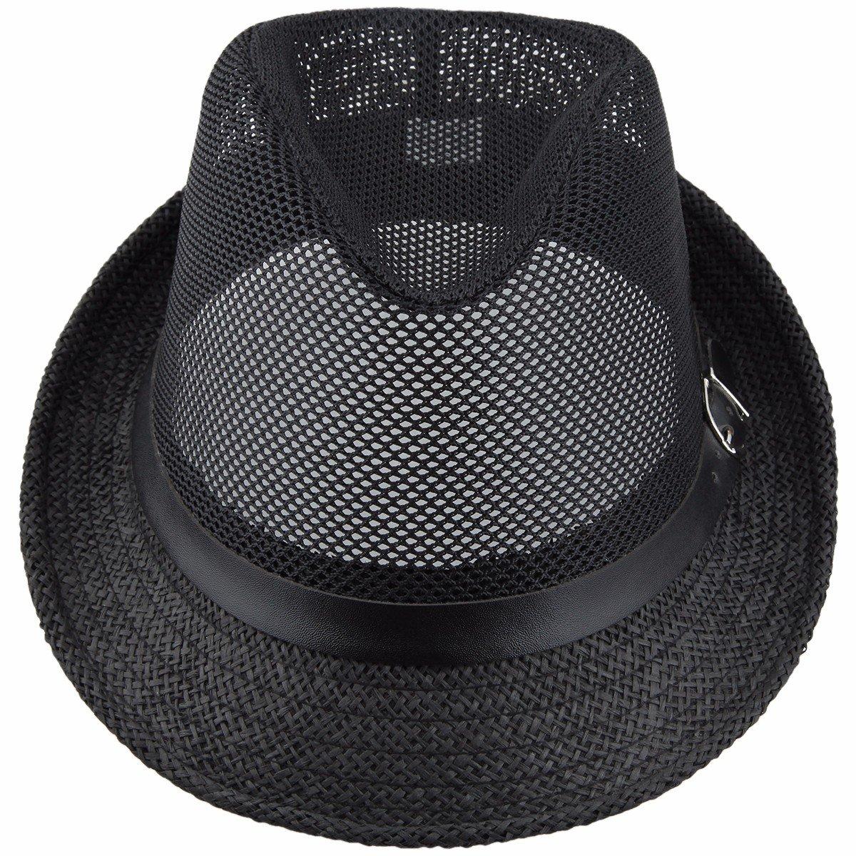 a070bcc81d8857 Samtree Fedora Hats for Women Men,Braid Straw Short Brim Jazz Panama  Cap(03-Black): Amazon.in: Clothing & Accessories