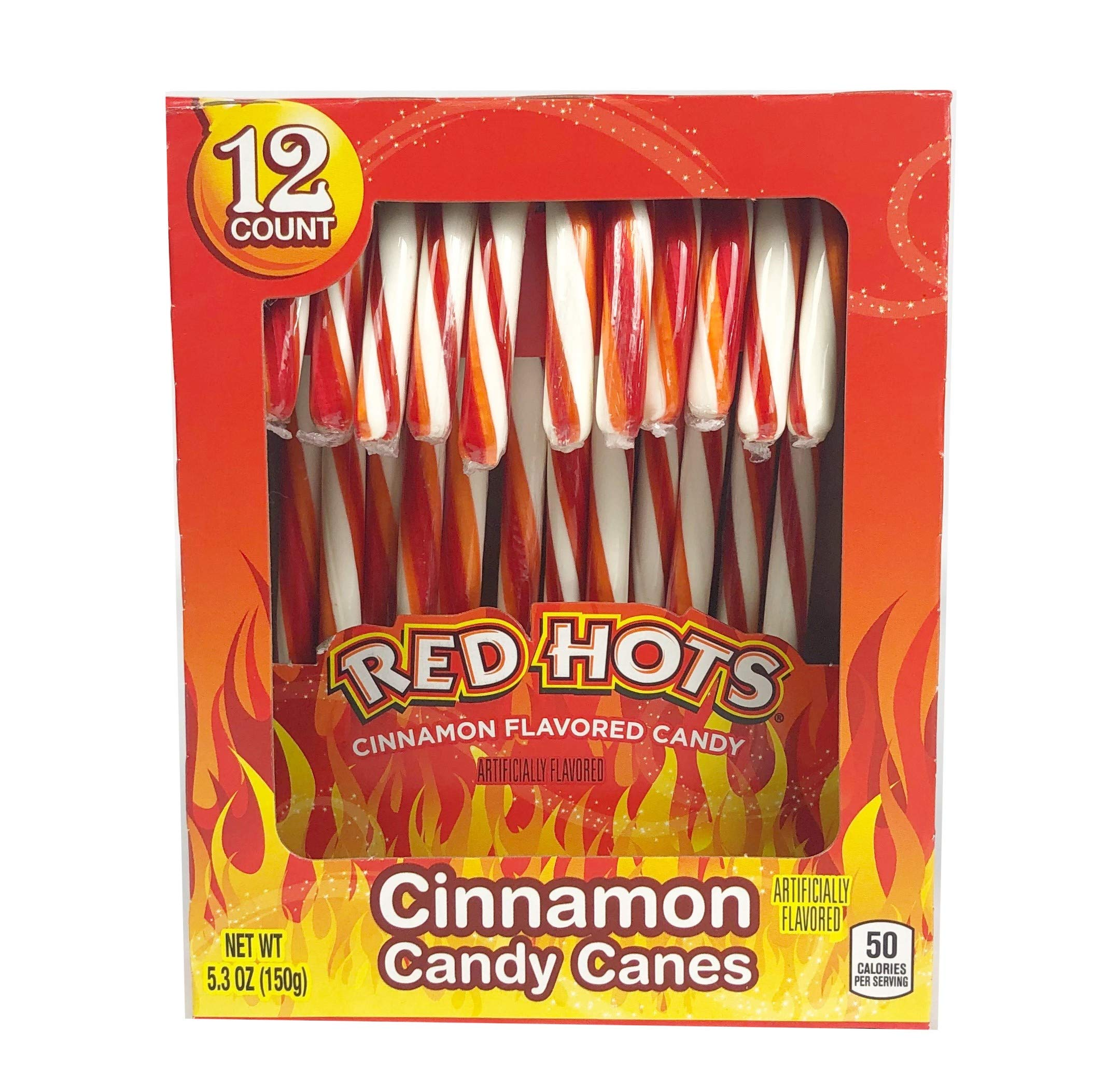 Brach's Red Hots Cinnamon Flavored Candy Canes, 12 Count, 6 Oz