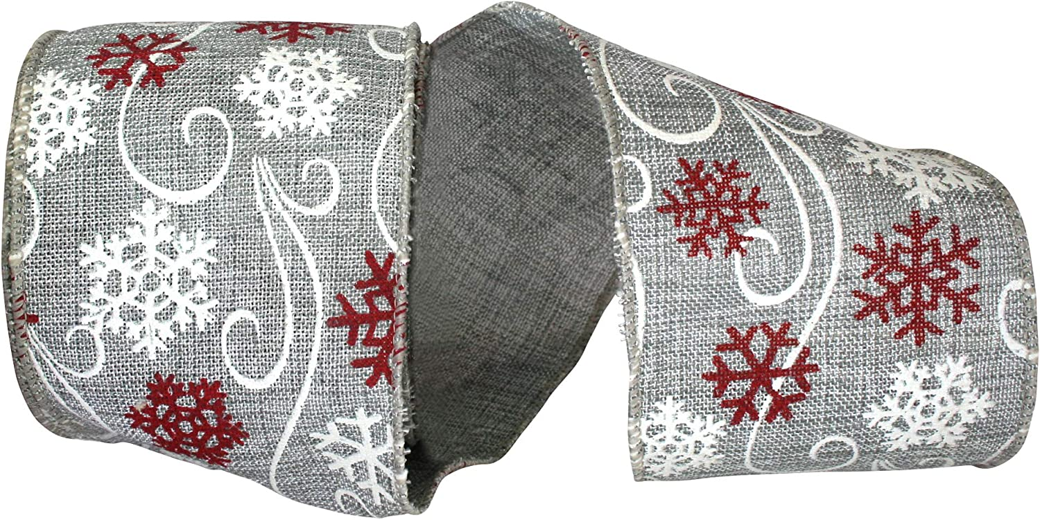 2-1//2 Inch X 10 Yards Reliant Ribbon Fashion Snowflake Linen Wired Edge Ribbon Grey
