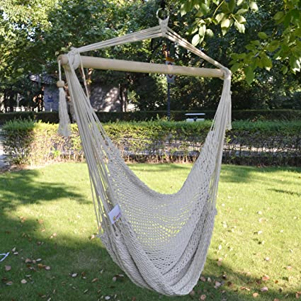 amazon com new hanging swing cotton rope hammock chair patio porch rh amazon com Patio Hammock Chair with Frame Outdoor Lounge Chairs