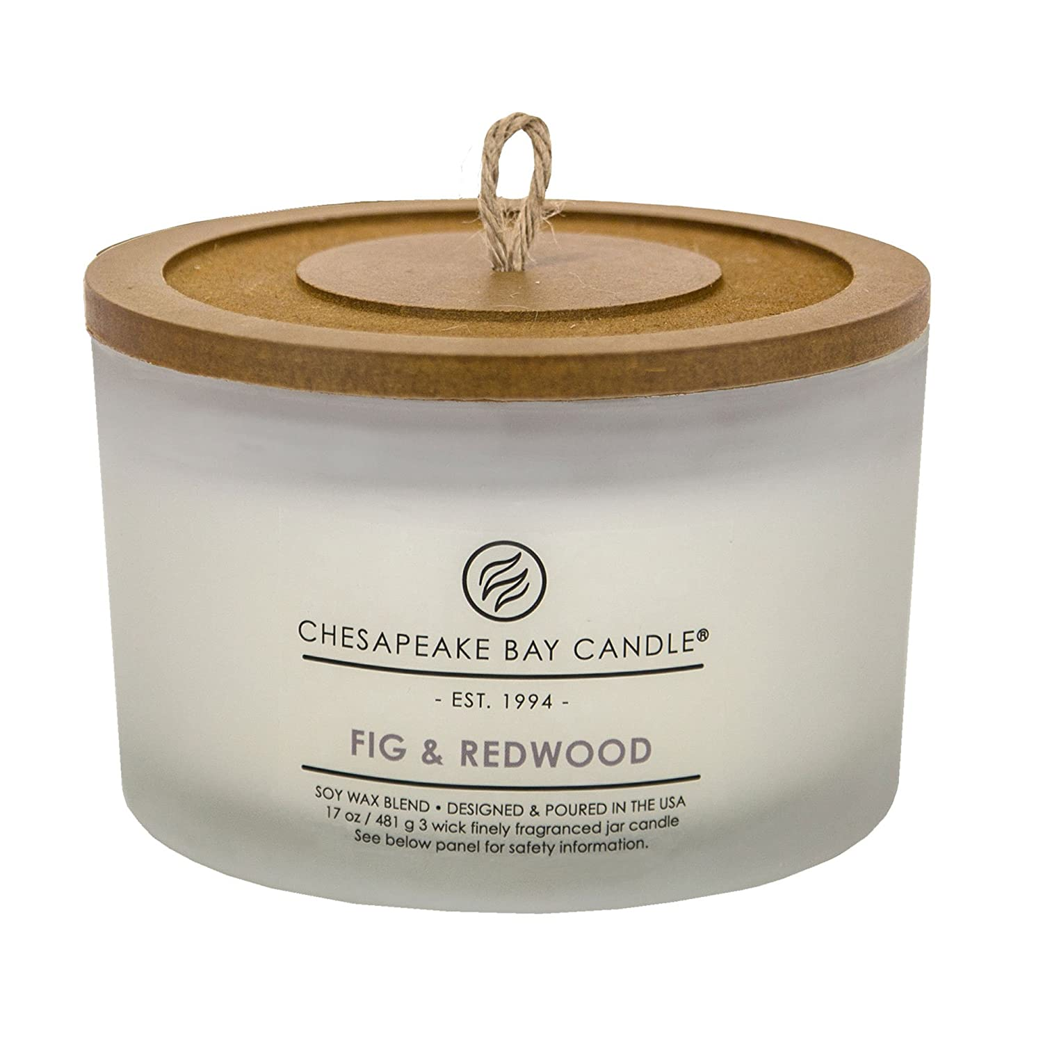 Chesapeake Bay Candle 3-Wick Scented Candle, Fig & Redwood, Coffee Table Jar