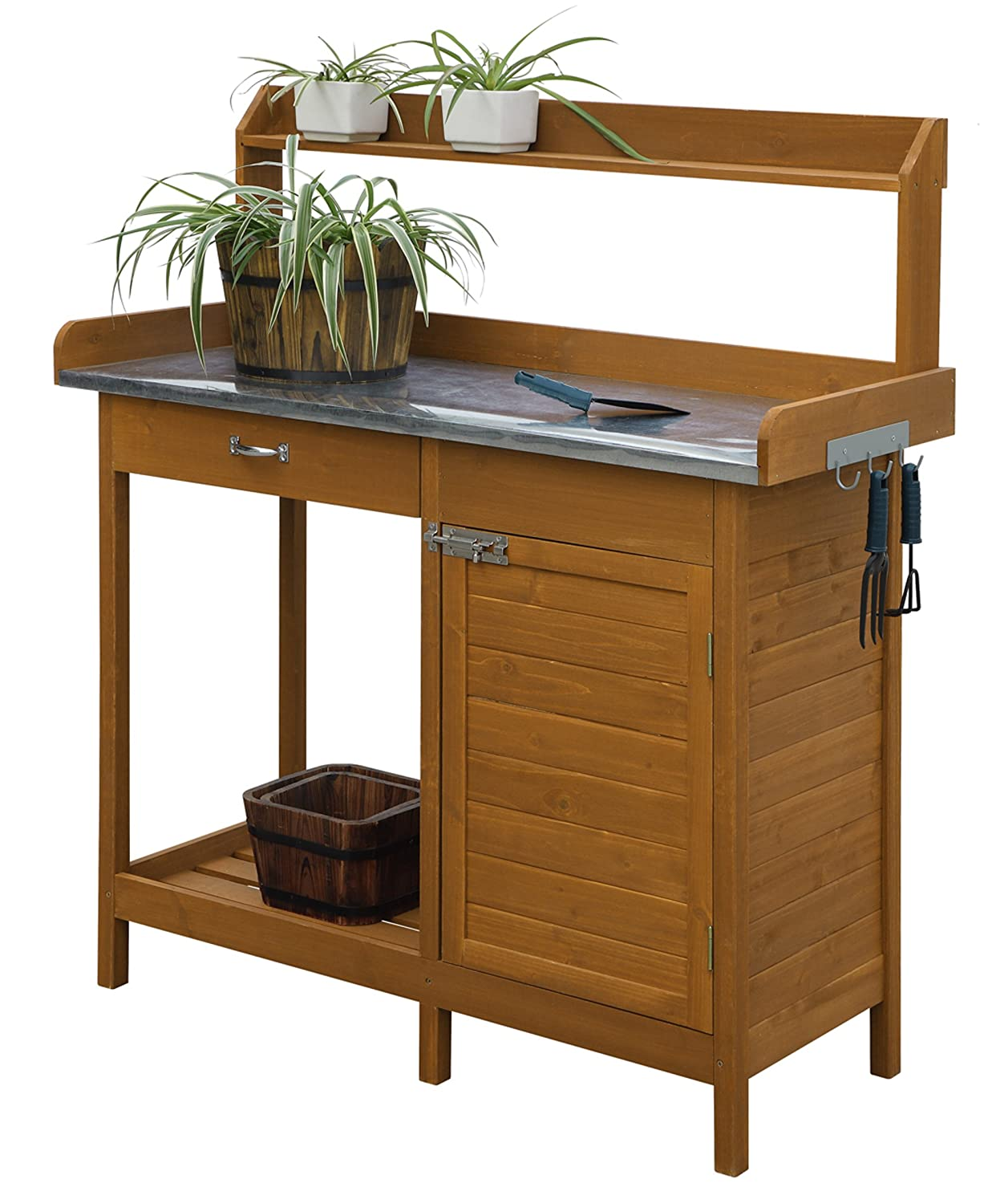 Amazon.com : Convenience Concepts Deluxe Potting Bench With Cabinet : Garden  U0026 Outdoor