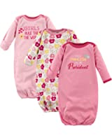 Luvable Friends Baby Cotton Gown, 3 Pack