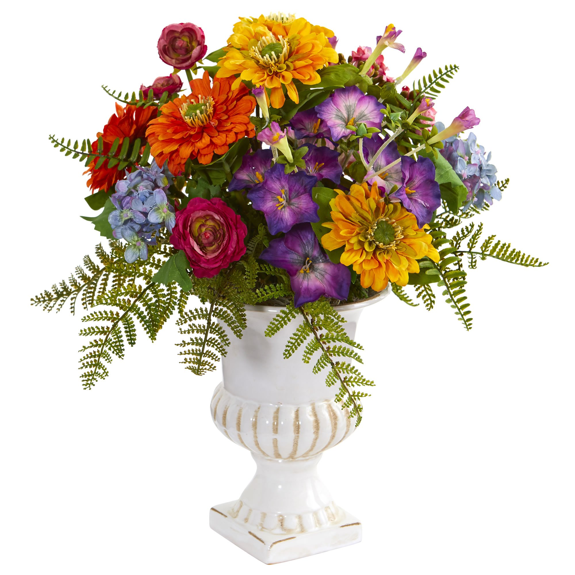 Nearly Natural 1610 Mixed Floral Artificial Urn Silk Arrangements Assorted