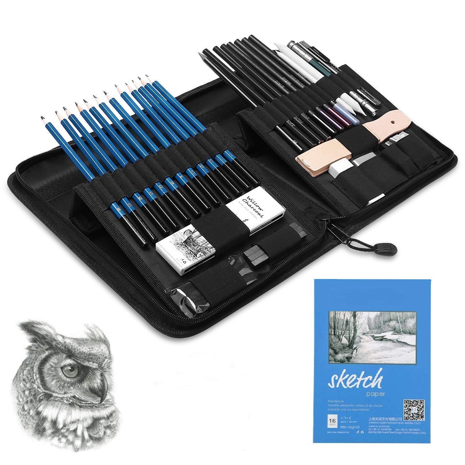 Graphite Pencils and Sketch Set by Decor Frontier - Drawing Kit Includes Charcoals, Pastels, Sharpener, Eraser, Craft Knife, Sandpaper Block and Carrying Case - Handy Pop-Up Stand for Easy Access