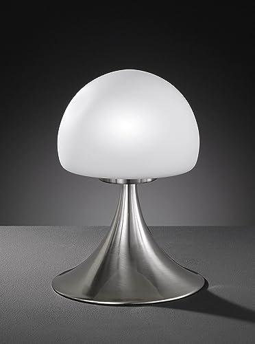 ACTION Tischleuchte Barney G9 Nachttischlampe Nickel Touch dimmbar Glas Opal
