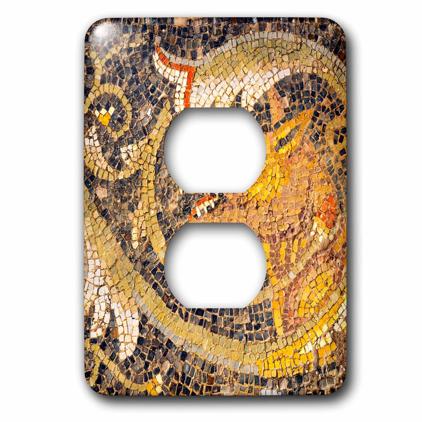 3dRose Danita Delimont - Artwork - Wolf Mosaic, New House Of Hunt, Bulla Regia, Tunisia, North Africa - Light Switch Covers - 2 plug outlet cover (lsp_276613_6)