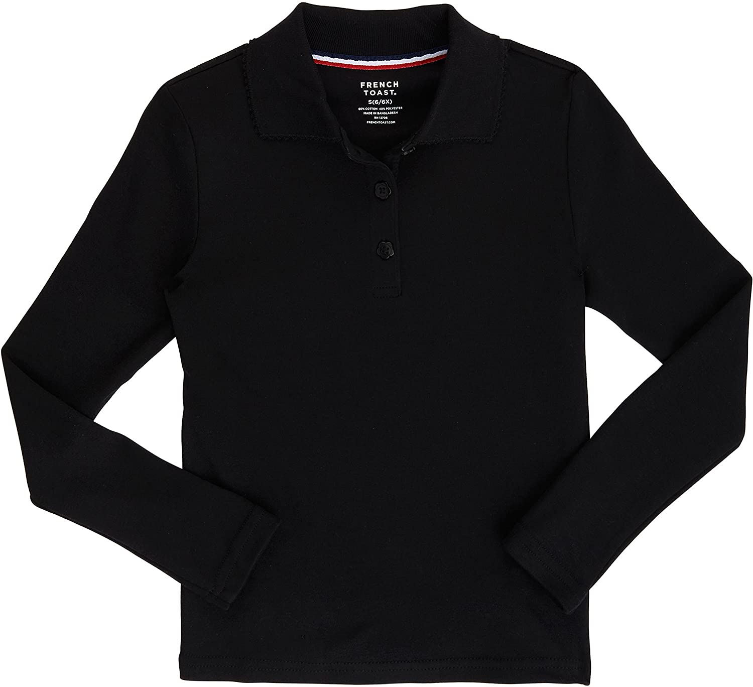 French Toast School Uniform Girls Long Sleeve Polo Interlock with Picot Collar A9424