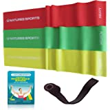 Flat Exercise Stretch Bands 3 x Resistance Bands Set (Light Medium Heavy) Latex Free - Physical Therapy Bands for Yoga Ballet Pilates - Free Bonus Door Anchor