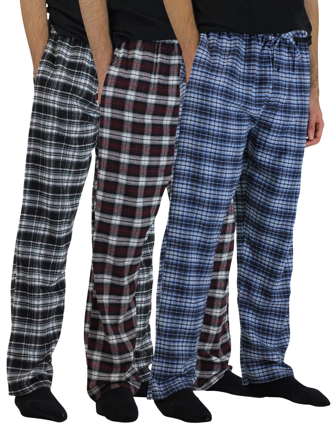 Real Essentials 3 Pack:Men's Cotton Super Soft Flannel Plaid Pajama Pants/Lounge Bottoms,Set 1-XXL