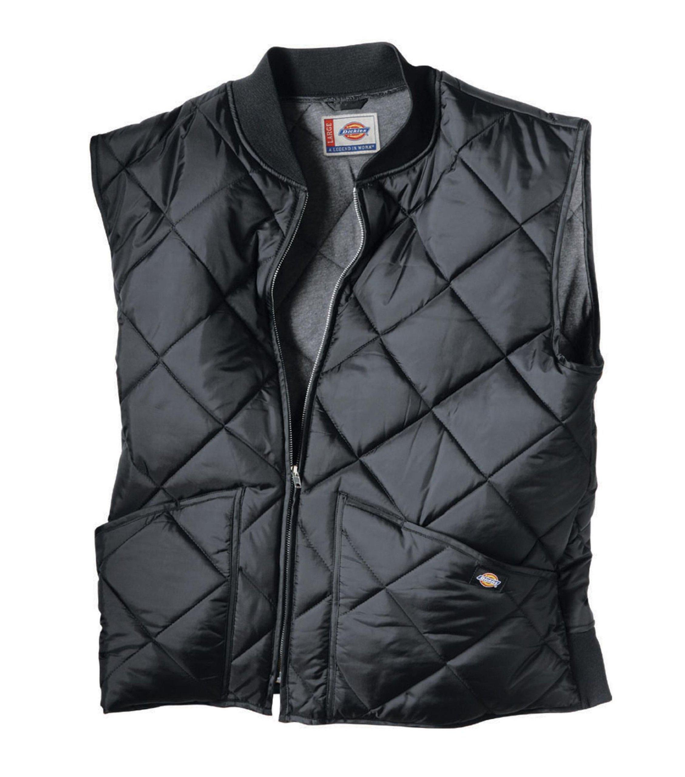 Dickies Men's Diamond Quilted Nylon Vest, Black, X-Large