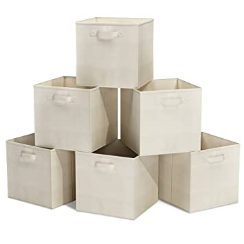 Closet Organizer   Fabric Storage Basket Cubes Bins   6 Beige Cubeicals Containers  Drawers By Home