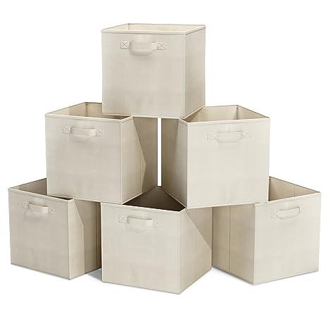 Closet Organizer   Fabric Storage Basket Cubes Bins   6 Beige Cubeicals  Containers Drawers