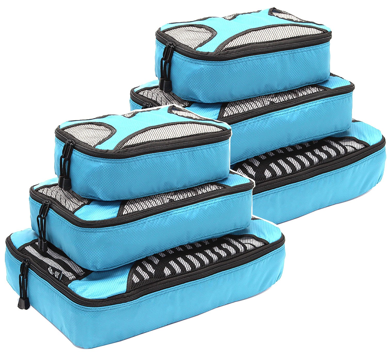 Travel Packing Organizers - Clothes Cubes Shoe Bags Laundry Pouches For Suitcase Luggage, Storage Organizer 6 Set Color Blue